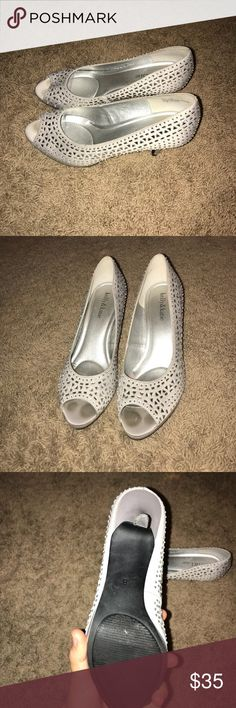 Kelly & Katie Silver Heels Worn once. Size 8. Silver with gems. Kelly & Katie Shoes Heels