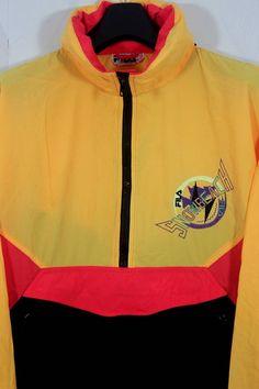 Vintage 90s Fila Snow Beach Multi Color Hooded Windbreaker
