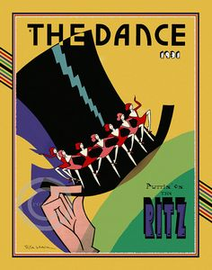 Whimsical Art Deco The Dance Cover Top Hat Dancing Ladies Puttin' on The Ritz Drama Stage Tap Dance 1931  Giclee Fine Art Print 11x14