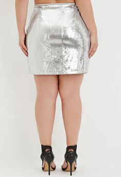 Plus Size Sequined Mini Skirt | Forever 21 PLUS - 2000181589