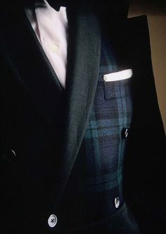 Double-breasted Black Watch dinner jacket