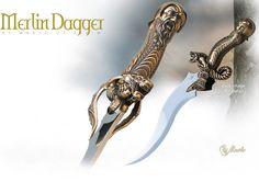 NobleWares Image of Merlin the Magician fantasy dagger 721 bronze by Marto of Toledo Spain