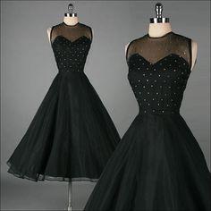 vintage black mesh with rhinestones