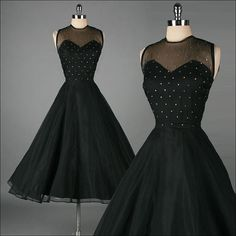 Vintage 1950s GIGI YOUNG black mesh and rhinestone dress