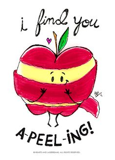"""Free Printables - Funny Valentines with Food Puns - """"I Find You A-Peel-ing"""" apple illustration by Hearts and Laserbeams"""