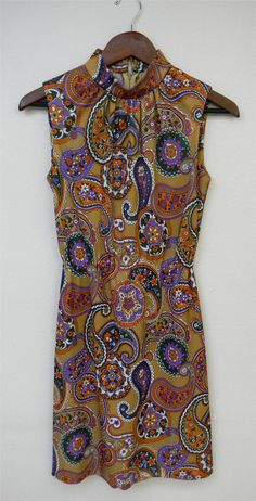 Vintage Dress 60s Psychedelic Fall Autumn by PinkCheetahVintage, $24.00