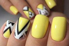50 Geometric nail art designs for 2019 Geometric Nail Art designs are most popular nail designs aamong nail fashion because of the actuality that these Yellow Nails Design, Yellow Nail Art, Summer Nails 2018, Spring Nails, Long Nails, My Nails, Short Nails, Easter Nails, Polish Easter