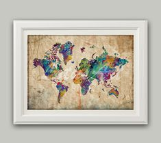 Items similar to World Map Print Colorful 2 Map Gifts Watercolor World Map Wall Art Travel Map Vintage Style Map World Art Living Room Wall Art Travel Art on Etsy World Map Poster, World Map Wall Art, Art World, Water Color World Map, Inspiration Wall, Living Room Art, New Wall, Watercolor Art, Wall Art Prints