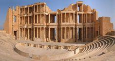 Ancient Roman ruins: Colonnaded Theatre in Sabratah, Libya Architecture Antique, Roman Architecture, Amazing Architecture, Ancient Ruins, Ancient Rome, Mayan Ruins, Ancient Greek, Ancient History, Antalya
