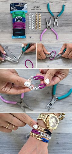Or create a bunch of cool bracelets out of some hair ties and links of chain.