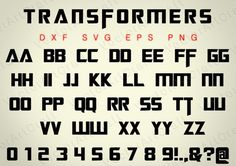Transformers Fonts dxd PNG svg eps Alphabets от VectorArtCraft