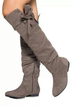 hotness and more Comfortable Flat Heel Coppy Leather Knee High Boots with Bowtie Decoration Long Boots, Knee High Boots, Grey Boots, Brown Boots, Crazy Shoes, Me Too Shoes, Heeled Boots, Bootie Boots, Slouchy Boots