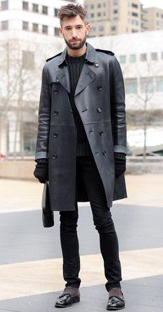 David Thielebeule leather trench coat