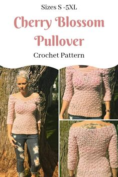 Cherry Blossom Pullover pattern by Journey Chanel Designs Crochet Sweaters, Crochet Tops, Crochet Cardigan, Crochet Clothes, Double Crochet, Single Crochet, Half Sweater, Crotchet Patterns, Crochet Woman