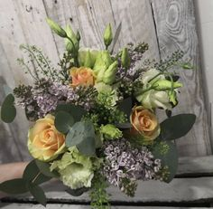 Fabulous scented Bridal bouquet with lilac, peach roses and green lisianthus. Summer Wedding, Wedding Day, Bridal Bouquets, Special Day, Lilac, Wedding Flowers, Floral Wreath, Reception, Roses