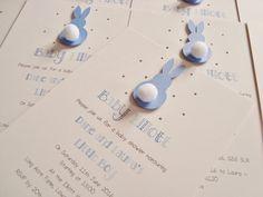 Set of 10 Handmade Personalised Bunny Rabbit Baby Shower/Birthday Party/Christening Invitations by ohsopurrfect on Etsy https://www.etsy.com/uk/listing/474785717/set-of-10-handmade-personalised-bunny
