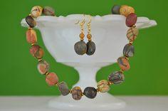Chunky Southwestern Jewelry Set  Handmade Earthtone Necklace & Simple Drop Earring  Red Creek Jasper Nuggets  Natural Tribal Desert Style by kikiverde from Kikiverde Design Studio Find it now at http://ift.tt/29tMApA! #EtsyGifts #Handmade #Etsy