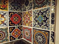 Mexican mosaic tile backsplash