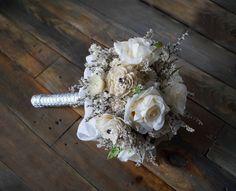 Bridal Bouquet, Artificial Flowers, Sola Flowers, Dried Flowers, Glamour Wedding, Romantic Weddings, Ecru Roses, Hollywood Chic Vintage Day by WeddingDesignForYou on Etsy