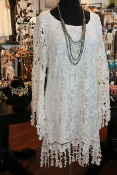Crotchet lace is a MUST this season. This adorable bell-sleeve dress can be worn with skinny jeans, or leggings! S-XL, $89.00.