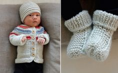 Baby hat, sweater, booties