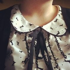dog printed vintage peterpan collar blouse with a bow tie?! oh need this.