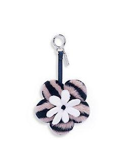 Fendi Mink Fur & Leather Flower Keychain - Navy