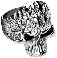 SPIKES 316L Stainless Steel Killer Flames Skull Ring