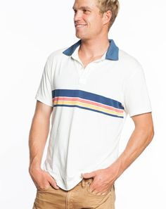 Striped Jersey Polo - Marshmallow