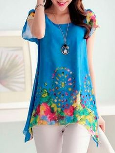 Leisure Floral Printing Short Sleeve Round Collar Hollow Out Chiffon T-Shirts Women's Summer Fashion Top Blue