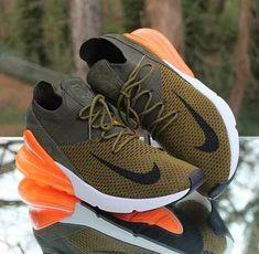 fd4b6a7e6d Nike Air Max 270 Flyknit Olive Flak Khaki Orange AO1023-301 Men's Size 10.5  #