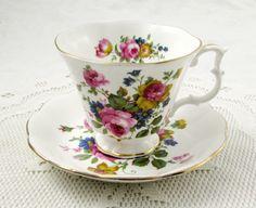 Royal Albert Tea Cup and Saucer with Flowers, Gainsborough Shape, Vintage Tea Cup, English Bone China, Teacup