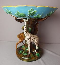 George Jones extremely rare majolica giraffe & stag compote ~ 19th century English. Finding this piece would be comparable to finding the golden egg for collectors.