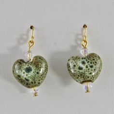 Crystal Glass and Brass Small  Dangle Earrings Green by oscarcrow