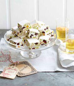 Cranberry, pistachio and almond nougat recipe - from Gourmet Traveller Almond Nougat Recipe, French Nougat Recipe, Torrone Recipe, Candy Recipes, Dessert Recipes, Desserts, Picnic Recipes, Bonbon, Dessert