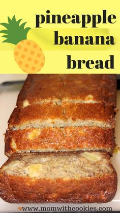 A delicious pineapple banana bread recipe that is easy to make and such a moist bread. This banana and pineapple bread is the perfect snack, breakfast, or even a light dessert! It's easy to make, but oh-so-tasty. Pineapple Banana Bread Recipe, Banana Nut Bread, Banana Bread Recipes, Fresh Pineapple Recipes, Recipe With Pineapple Chunks, Recipes With Bananas, Ripe Banana Recipes Healthy, Homemade Banana Bread, Crushed Pineapple
