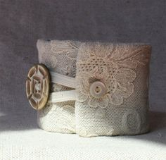 """""""Eva"""" ~ meaning life. Textile art cuff with antique lace. #Etsy from #bmizendesigns  https://www.etsy.com/listing/104398744/eva-a-textile-art-cuff-free-shipping-usa"""