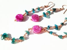 Pink Druzy Quartz and Neon Apatite Rosary Link Hand Wire Wrapped Chain Jewellery Suite by BaileyBespoke