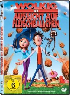 Wolkig mit Aussicht auf Fleischbällchen  2009 USA      Jetzt bei Amazon Kaufen Jetzt als Blu-ray oder DVD bei Amazon.de bestellen  IMDB Rating 7,0 (59.383)  Darsteller: Bill Hader, Anna Faris, James Caan, Andy Samberg, Bruce Campbell,  Genre: Animation, Comedy, Family,  FSK: 6