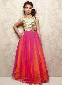 Kids Dress : Buy Kids Dresses Online Shopping At Best Prices Long Frocks For Kids, Frocks For Girls, Kids Frocks, Gowns For Girls, Kids Outfits Girls, Girls Dresses, Kids Party Wear, Kids Wear, Bright Pink Dresses