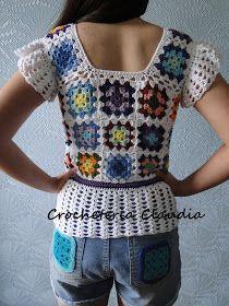 Baby Girl Crochet Blanket, Crochet Baby, Free Crochet, Crochet Top, Crochet Short Sleeve Tops, Hippie Crochet, Crochet Bunny Pattern, Crochet Shirt, Crochet Woman