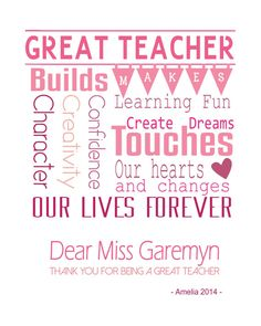 Teacher Gift Teacher Gifts Ideas End of year Teacher gifts Personalized Teacher Printable  **PRINTABLE FILE ONLY* No physical product will be shipped **  PLEASE NOTE: Choose the number of files you need ♥ eg. if you have 2 teachers for a single student then it will be two files. Then please choose - 2 files in the number of files option  * This is a perfect gift for a very special teacher. * I am sure teacher who will receive this will be delighted and treasure this gift forever.  * If you…