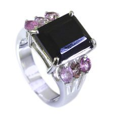 excellent Tourmaline Silver Multi Ring indian L-1in US 5678