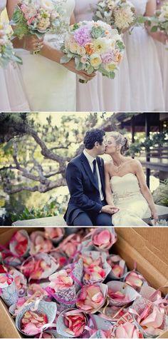 Succulents, pastels, cabbage/garden roses, dusty miller