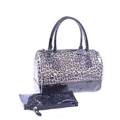 NEEWER? Women Jelly Beach Tote Bag Clear Transparent Bucket Satchel Handbag with Zipper Closure (Leopard)