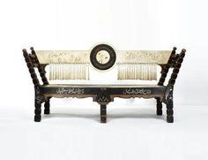 Carlo Bugatti (1856-1940) - Bench. Carved, Turned and Inlayed Wood, Vellum and Silk Tassles. Circa 1900.