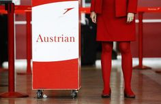 Austrian Airlines the Red stewardess Austrian Airlines, Airline Flights, Cabin Crew, Flight Attendant, Corporate Design, Planer, Branding, Guy Stuff, Aviation