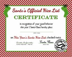 This free printable is great for kids. Santa's Official Nice List Certificate will have them excited to open presents! Christmas Activities, Christmas Projects, Christmas Traditions, Christmas Ideas, Christmas Images, Christmas Eve Box For Kids, Christmas Eve Pictures, Christmas Boxes, Christmas Hamper