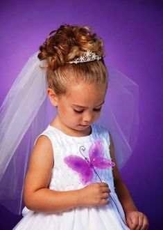 little flower girl hairstyles with tiara