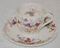 "VINTAGE COPELAND ""FAIRY DELL"" SPODE DEMITASSE CUP AND SAUCER -PURPLE"